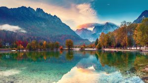 Mountains and lake view